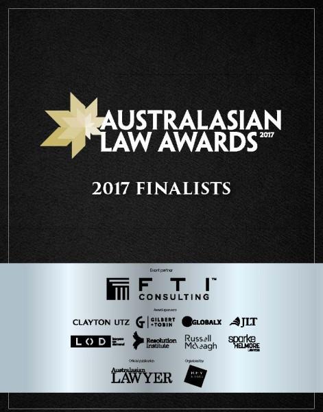 2017 Australasian Law Awards Finalists