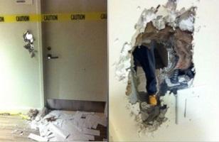 Breaking Bath: Employee destroys wall to escape bathroom