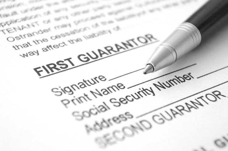 A Guarantor contract waiting to be signed