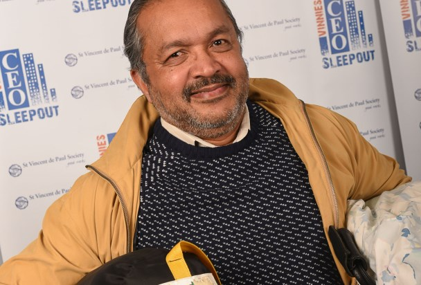 Clarence Kunnel takes part in the 2015 Vinnies CEO Sleepout