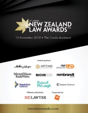 2018 New Zealand Law Awards Winners