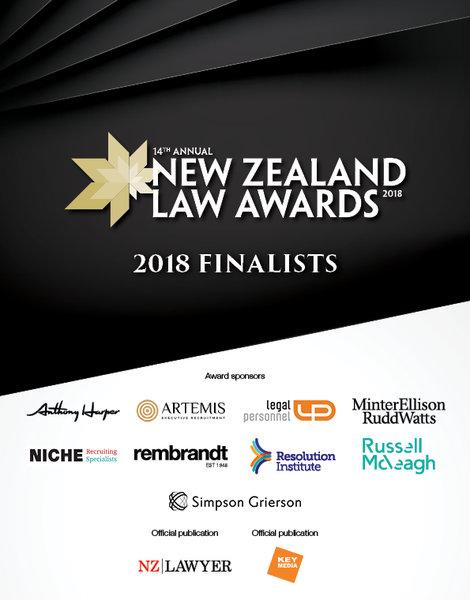 2018 New Zealand Lawyer Awards Finalists