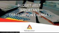 Budget 2017: Depreciation Changes